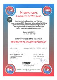 International Institute of Welding Diplom